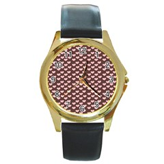 Chocolate Pink Hearts Gift Wrap Round Gold Metal Watch