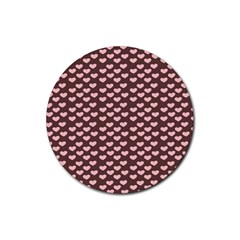 Chocolate Pink Hearts Gift Wrap Rubber Round Coaster (4 pack)