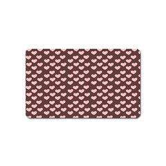 Chocolate Pink Hearts Gift Wrap Magnet (Name Card)