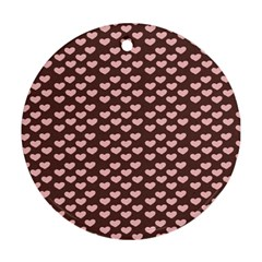 Chocolate Pink Hearts Gift Wrap Round Ornament (Two Sides)