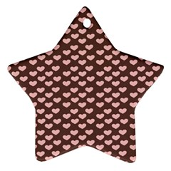 Chocolate Pink Hearts Gift Wrap Star Ornament (Two Sides)