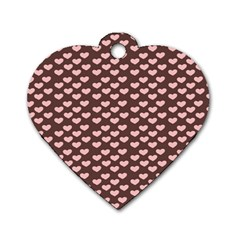 Chocolate Pink Hearts Gift Wrap Dog Tag Heart (Two Sides)