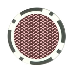 Chocolate Pink Hearts Gift Wrap Poker Chip Card Guard