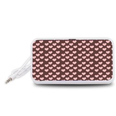 Chocolate Pink Hearts Gift Wrap Portable Speaker (White)