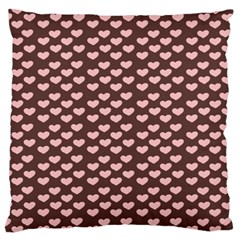 Chocolate Pink Hearts Gift Wrap Large Cushion Case (One Side)