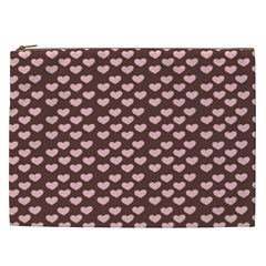 Chocolate Pink Hearts Gift Wrap Cosmetic Bag (XXL)