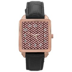 Chocolate Pink Hearts Gift Wrap Rose Gold Leather Watch