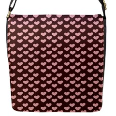 Chocolate Pink Hearts Gift Wrap Flap Messenger Bag (S)