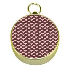 Chocolate Pink Hearts Gift Wrap Gold Compasses