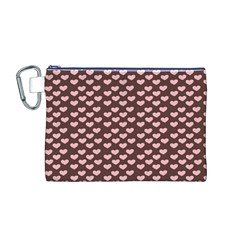 Chocolate Pink Hearts Gift Wrap Canvas Cosmetic Bag (M)