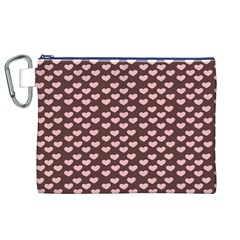Chocolate Pink Hearts Gift Wrap Canvas Cosmetic Bag (XL)