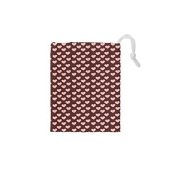 Chocolate Pink Hearts Gift Wrap Drawstring Pouches (XS)