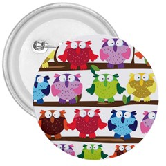 Funny Owls Sitting On A Branch Pattern Postcard Rainbow 3  Buttons