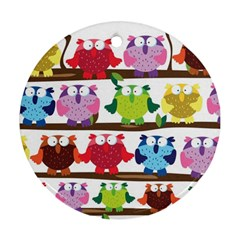 Funny Owls Sitting On A Branch Pattern Postcard Rainbow Ornament (Round)