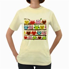 Funny Owls Sitting On A Branch Pattern Postcard Rainbow Women s Yellow T-Shirt