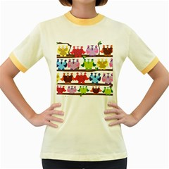 Funny Owls Sitting On A Branch Pattern Postcard Rainbow Women s Fitted Ringer T-Shirts