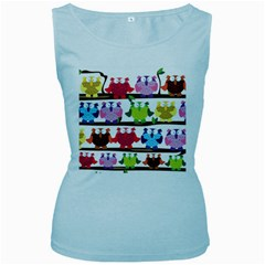 Funny Owls Sitting On A Branch Pattern Postcard Rainbow Women s Baby Blue Tank Top