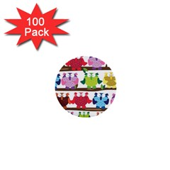 Funny Owls Sitting On A Branch Pattern Postcard Rainbow 1  Mini Buttons (100 pack)