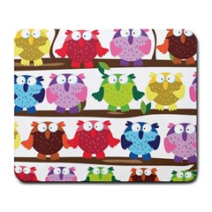 Funny Owls Sitting On A Branch Pattern Postcard Rainbow Large Mousepads