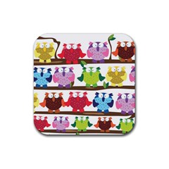 Funny Owls Sitting On A Branch Pattern Postcard Rainbow Rubber Square Coaster (4 Pack)