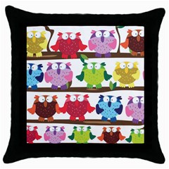 Funny Owls Sitting On A Branch Pattern Postcard Rainbow Throw Pillow Case (Black)