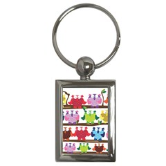 Funny Owls Sitting On A Branch Pattern Postcard Rainbow Key Chains (Rectangle)