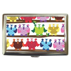 Funny Owls Sitting On A Branch Pattern Postcard Rainbow Cigarette Money Cases