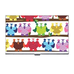 Funny Owls Sitting On A Branch Pattern Postcard Rainbow Business Card Holders