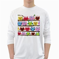 Funny Owls Sitting On A Branch Pattern Postcard Rainbow White Long Sleeve T-Shirts