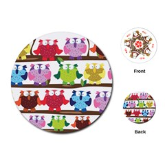 Funny Owls Sitting On A Branch Pattern Postcard Rainbow Playing Cards (round)