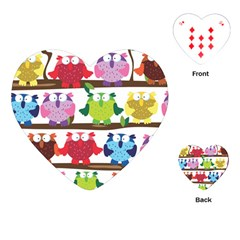 Funny Owls Sitting On A Branch Pattern Postcard Rainbow Playing Cards (Heart)