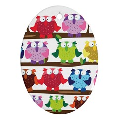 Funny Owls Sitting On A Branch Pattern Postcard Rainbow Oval Ornament (Two Sides)