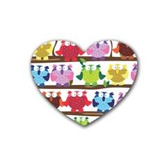 Funny Owls Sitting On A Branch Pattern Postcard Rainbow Heart Coaster (4 pack)