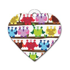 Funny Owls Sitting On A Branch Pattern Postcard Rainbow Dog Tag Heart (Two Sides)
