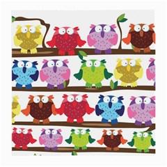 Funny Owls Sitting On A Branch Pattern Postcard Rainbow Medium Glasses Cloth (2-Side)