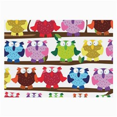 Funny Owls Sitting On A Branch Pattern Postcard Rainbow Large Glasses Cloth
