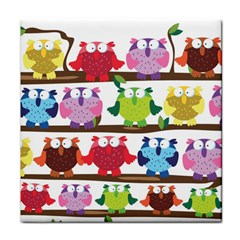 Funny Owls Sitting On A Branch Pattern Postcard Rainbow Face Towel