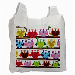 Funny Owls Sitting On A Branch Pattern Postcard Rainbow Recycle Bag (Two Side)