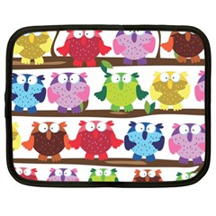 Funny Owls Sitting On A Branch Pattern Postcard Rainbow Netbook Case (XL)