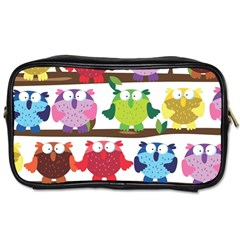 Funny Owls Sitting On A Branch Pattern Postcard Rainbow Toiletries Bags 2-Side
