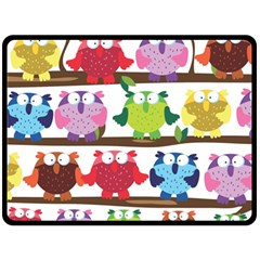 Funny Owls Sitting On A Branch Pattern Postcard Rainbow Fleece Blanket (Large)
