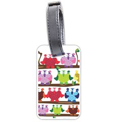 Funny Owls Sitting On A Branch Pattern Postcard Rainbow Luggage Tags (One Side)