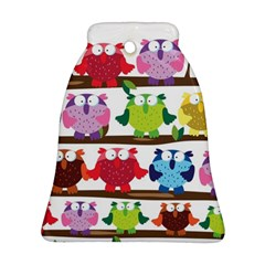 Funny Owls Sitting On A Branch Pattern Postcard Rainbow Ornament (Bell)