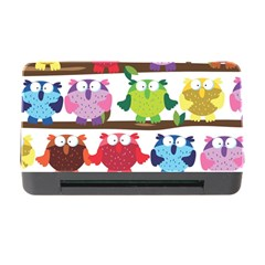 Funny Owls Sitting On A Branch Pattern Postcard Rainbow Memory Card Reader with CF