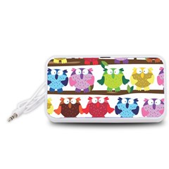 Funny Owls Sitting On A Branch Pattern Postcard Rainbow Portable Speaker (White)