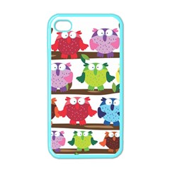 Funny Owls Sitting On A Branch Pattern Postcard Rainbow Apple iPhone 4 Case (Color)