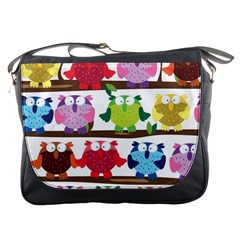 Funny Owls Sitting On A Branch Pattern Postcard Rainbow Messenger Bags