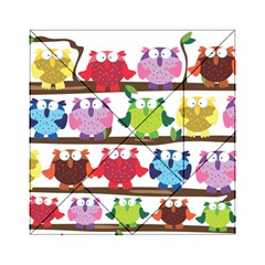 Funny Owls Sitting On A Branch Pattern Postcard Rainbow Acrylic Tangram Puzzle (6  x 6 )