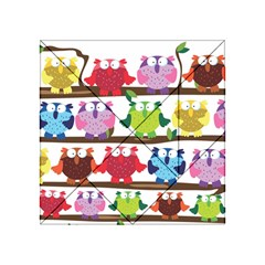 Funny Owls Sitting On A Branch Pattern Postcard Rainbow Acrylic Tangram Puzzle (4  x 4 )