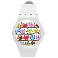 Funny Owls Sitting On A Branch Pattern Postcard Rainbow Round Plastic Sport Watch (M)
